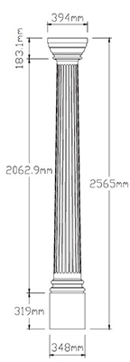 Fluted Column Dimension