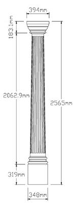 Fluted Column Dimension