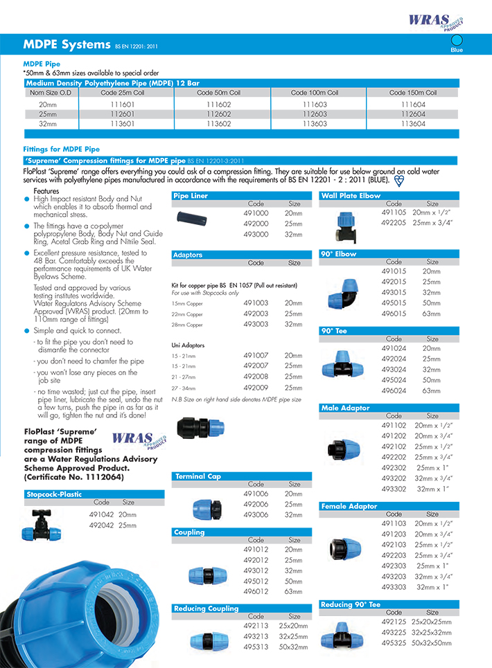MDPE Water pipe and fittings