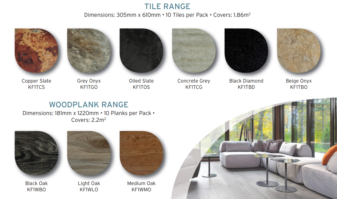KlicKer flooring is available in tile and wood plank ranges