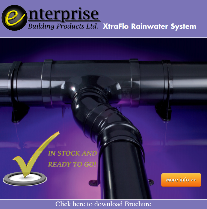 The Xtraflo gutter system is stocked at Enterprise Building Products Limited