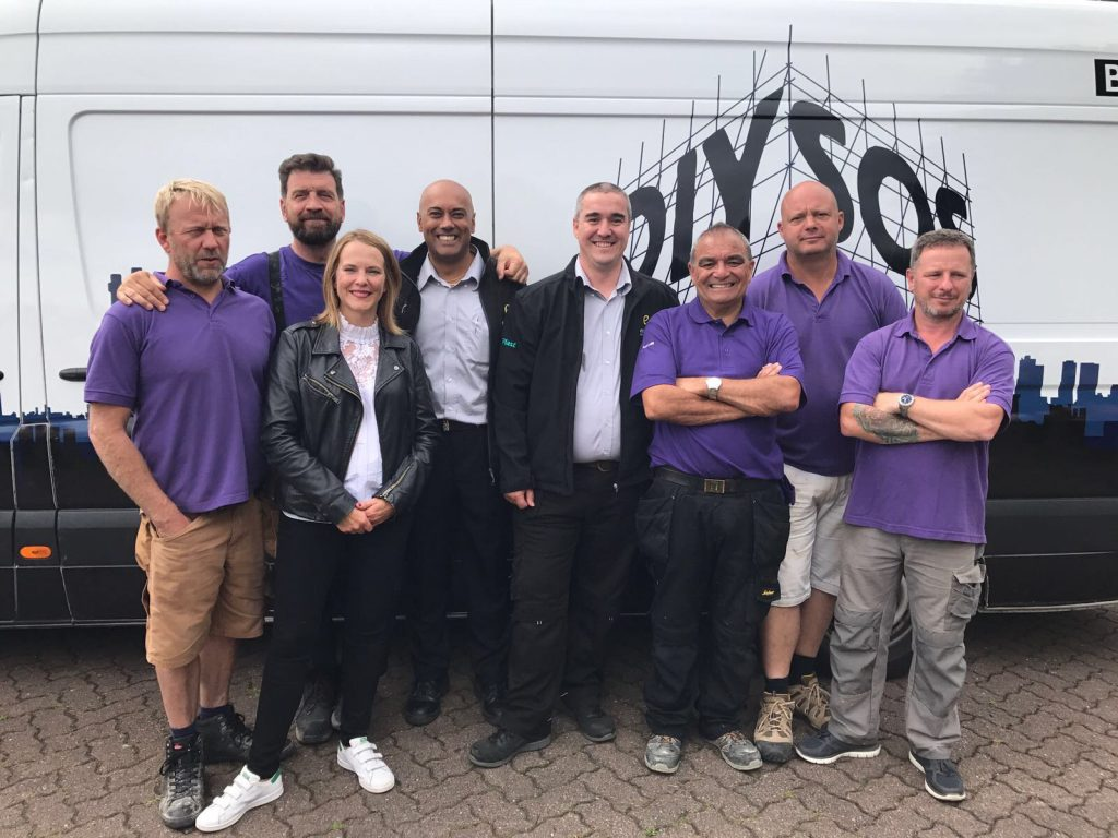 The DIY SOS team with Guvy Dulai and Allen Renton from Enterprise Building Products Limited